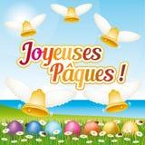 Tarjeta de felicitación feliz francesa hermosa y colorida de Pascua IV con los huevos y las campanas de Pascua Foto de archivo libre de regalías