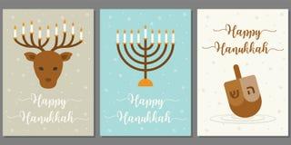 Tarjeta de felicitación feliz de Hanukkah ilustración del vector