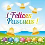 Tarjeta de felicitación feliz hermosa y colorida de Pascua con los huevos y las campanas de Pascua Ejemplo español II Foto de archivo