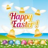 Tarjeta de felicitación feliz hermosa y colorida de Pascua con los huevos y las campanas de Pascua ejemplo II Foto de archivo libre de regalías