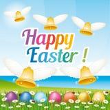 Tarjeta de felicitación feliz hermosa y colorida de Pascua con los huevos y las campanas de Pascua Ejemplo III Fotografía de archivo