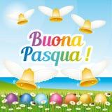 Tarjeta de felicitación feliz hermosa y colorida de Pascua con los huevos y las campanas de Pascua Ejemplo italiano II Foto de archivo libre de regalías