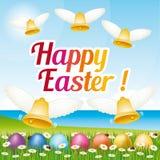 Tarjeta de felicitación feliz hermosa y colorida de Pascua con los huevos y las campanas de Pascua ejemplo v Foto de archivo