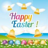 Tarjeta de felicitación feliz hermosa y colorida de Pascua con los huevos y las campanas de Pascua ejemplo VI Foto de archivo