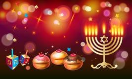 Tarjeta de felicitación feliz de Jánuca, menorah, chanuka, dreidel, fondo del hanuka