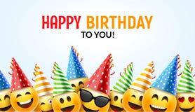 Tarjeta de felicitación feliz de la sonrisa del cumpleaños Diseño de carácter colorido del fondo 3d del cumpleaños del vector stock de ilustración