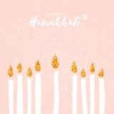 Tarjeta de felicitación feliz linda de Jánuca con los elementos del brillo del oro
