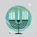 Tarjeta de felicitación feliz linda de Jánuca Día de fiesta judío con el menorah