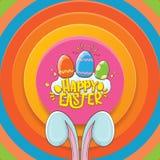 Tarjeta de felicitación feliz de pascua con el conejito, el texto caligráfico, las nubes, el arco iris y los huevos de Pascua del