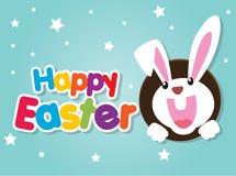 Tarjeta de felicitación feliz de Pascua con el conejo, el conejito y los huevos ilustración del vector