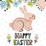 Tarjeta de felicitación feliz de Pascua con un conejito lindo libre illustration