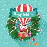 Tarjeta de felicitación festiva de la Feliz Navidad con Santa Claus y la suya Foto de archivo libre de regalías