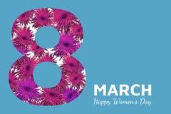 Tarjeta de felicitación floral abstracta Flores de papel 8 de marzo rosado en fondo azul Día feliz del ` s de las mujeres Imagen de archivo libre de regalías