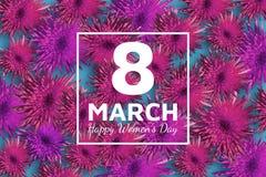 Tarjeta de felicitación floral abstracta Flores de papel rosadas el fondo el 8 de marzo azul Día feliz del ` s de las mujeres Fotografía de archivo