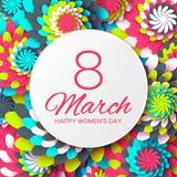 Tarjeta de felicitación floral colorida abstracta - el día de las mujeres felices internacionales - 8 de marzo fondo del día de f Foto de archivo