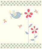 Tarjeta de felicitación floral con el pájaro Imagen de archivo