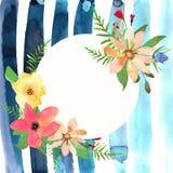 Tarjeta de felicitación floral con las flores coloridas y la tira azul dibujadas Fotos de archivo