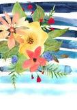 Tarjeta de felicitación floral con las flores coloridas y la tira azul dibujadas Imagenes de archivo
