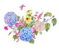 Tarjeta de felicitación floral de la acuarela con la hortensia ilustración del vector