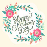 Tarjeta de felicitación floral de la madre del día feliz del ` s Fotos de archivo