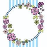 Tarjeta de felicitación floral del círculo del vintage Banda marina fijada flores stock de ilustración