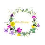 Tarjeta de felicitación floral del verano Foto de archivo
