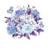 Tarjeta de felicitación floral del vintage apacible azul libre illustration