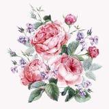 Tarjeta de felicitación floral del vintage clásico, acuarela ilustración del vector