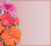 Tarjeta de felicitación floral del vintage con las flores estilizadas Imagen de archivo libre de regalías