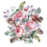 Tarjeta de felicitación floral del vintage de la acuarela clásica libre illustration