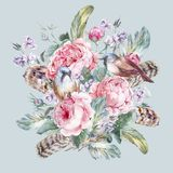 Tarjeta de felicitación floral del vintage de la acuarela clásica stock de ilustración
