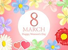 Tarjeta de felicitación floral feliz de la tarjeta de felicitación del día de las mujeres foto de archivo libre de regalías