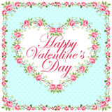 Tarjeta de felicitación floral hermosa para Valentine Day Fotos de archivo