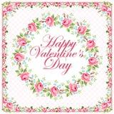 Tarjeta de felicitación floral hermosa para Valentine Day Foto de archivo