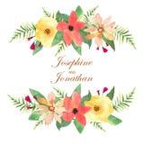 Tarjeta de felicitación floral, invitación, bandera Capítulo para sus wi del texto Fotografía de archivo libre de regalías
