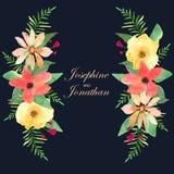 Tarjeta de felicitación floral, invitación, bandera Capítulo para sus wi del texto Fotografía de archivo