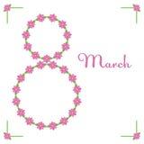 Tarjeta de felicitación floral linda del día de las mujeres 8 de marzo celebración Imágenes de archivo libres de regalías