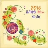 Tarjeta de felicitación floral por la Feliz Año Nuevo 2016 Imagen de archivo libre de regalías