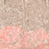 Tarjeta de felicitación, fondo de madera con las rosas coralinas Fotos de archivo libres de regalías