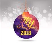 Tarjeta de felicitación geométrica púrpura de las bolas de la Navidad y de la Feliz Año Nuevo 2018 imágenes de archivo libres de regalías