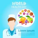 Tarjeta de felicitación global del día de fiesta del día del mundo del doctor Healthy Vitamins Health Foto de archivo