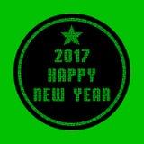 Tarjeta de felicitación hecha de partículas verdes del mosaico - Feliz Año Nuevo 2017 Imágenes de archivo libres de regalías