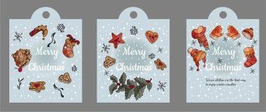 Tarjeta de felicitación hermosa con diversos elementos de la Navidad y del invierno stock de ilustración