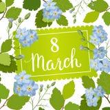 Tarjeta de felicitación hermosa con el día de fiesta del 8 de marzo, del día internacional del ` s de las mujeres con las flores  Fotos de archivo