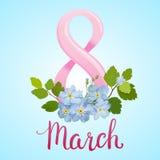 Tarjeta de felicitación hermosa con el día de fiesta del 8 de marzo, del día internacional del ` s de las mujeres con las flores  Fotografía de archivo