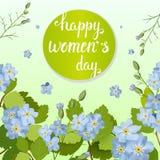 Tarjeta de felicitación hermosa con el día de fiesta del 8 de marzo, del día internacional del ` s de las mujeres con las flores  Foto de archivo libre de regalías