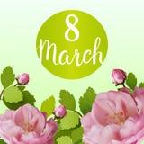 Tarjeta de felicitación hermosa con el día de fiesta del 8 de marzo, del día internacional del ` s de las mujeres con las rosas d Fotografía de archivo libre de regalías