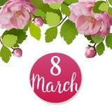 Tarjeta de felicitación hermosa con el día de fiesta del 8 de marzo, del día internacional del ` s de las mujeres con las rosas d Fotos de archivo libres de regalías