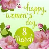 Tarjeta de felicitación hermosa con el día de fiesta del 8 de marzo, del día internacional del ` s de las mujeres con las rosas d Imagen de archivo