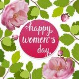Tarjeta de felicitación hermosa con el día de fiesta del 8 de marzo, del día internacional del ` s de las mujeres con las rosas d Fotos de archivo